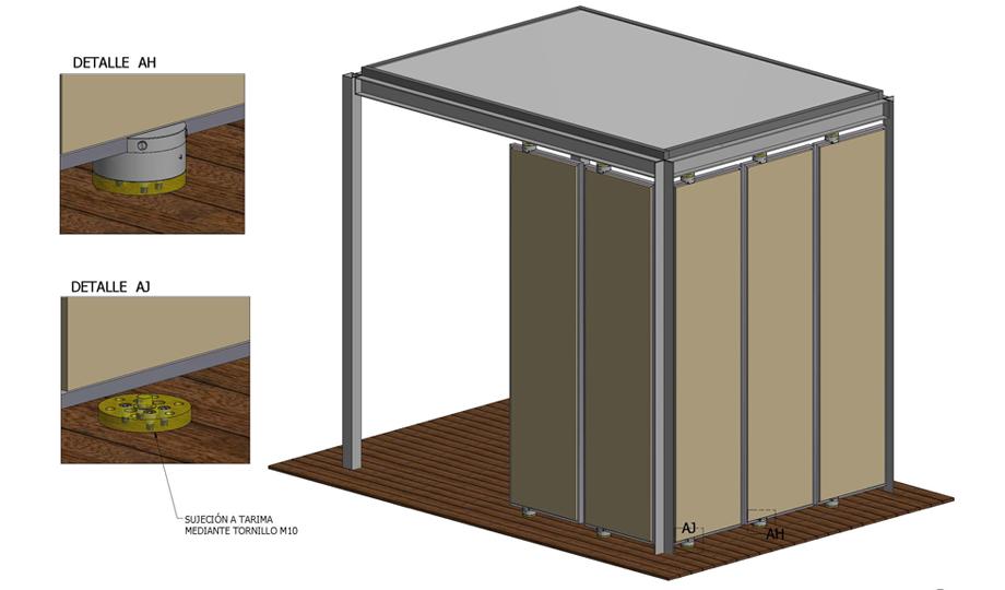 Vista 3D de la pérgola con los paneles y resortes instalados